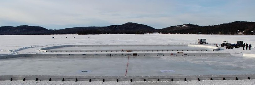 Ice skating rinks being made on the frozen lake