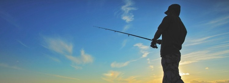 A silhouette of a man fishing with the clear sky behind them
