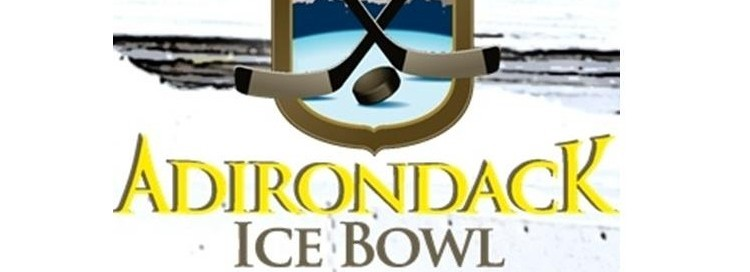 Adirondack ice bowl with the logo of a lake in winter with two crossed sticks and a puck in the middle