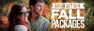 a couple with the trees full of fall foliage int he background and new to the couple check out our fall packages is written