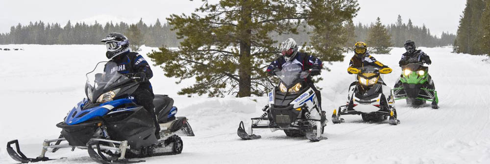 Snowmobilers driving on a trail