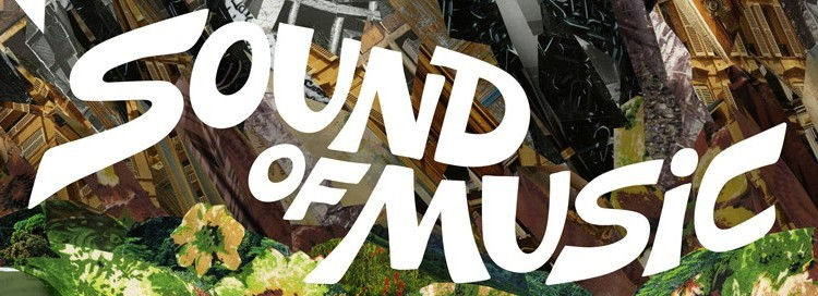 Sound of music written over a crazy background of different patterns