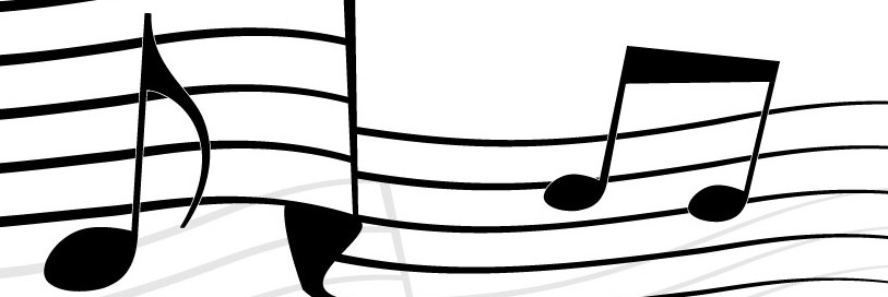 music notes over squiggled staff