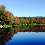 A calm clear lake reflecting the images of the trees beginning to change in fall