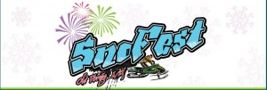 Snofest old forge ny written over a cartoon snowmobiler on his snowmobile and fireworks in the background